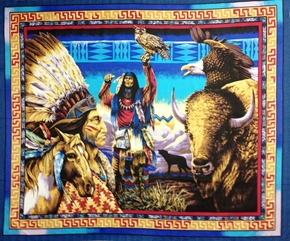 American Indians And Buffalo Large Cotton Fabric Panel