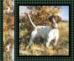 Picture of Point North White and Brown Hunting Dog Standing Fabric Pillow Panel
