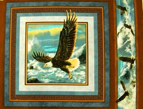 Picture of Quest of the Hunter Eagle Soaring Over the Ocean Fabric Pillow Panel