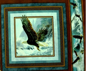 Picture of Quest of the Hunter Eagle Near Waterfalls Cotton Fabric Pillow Panel