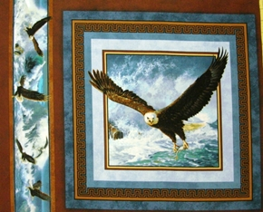 Quest Of The Hunter Eagle With a Fish Cotton Fabric Pillow Panel
