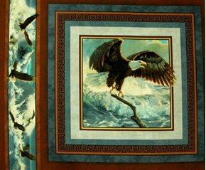 Picture of Quest of the Hunter Eagle Landing on a Branch Fabric Pillow Panel