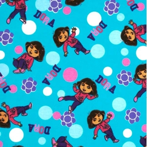 Picture of Flannel Dora The Explorer Polka Dots Aqua Cotton Fabric