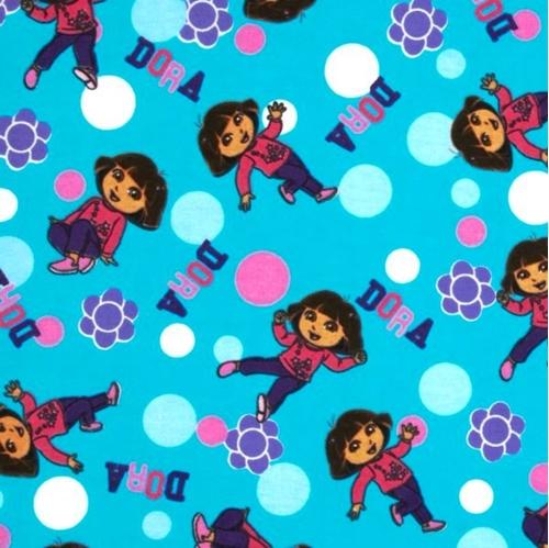 Flannel Dora The Explorer Polka Dots Aqua Cotton Fabric