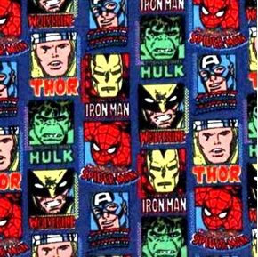 Picture of Flannel Superheroes Comic Strip Thor Hulk Ironman Cotton Fabric