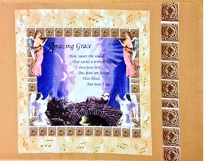 Picture of Amazing Grace Verse, Angels and Bridge Cotton Fabric Pillow Panel