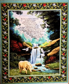 Picture of Psalm 23 The Lord is My Shepherd Religious Large Cotton Fabric Panel