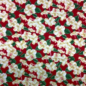 In Paradise White Hibiscus Flowers On Red Cotton Fabric