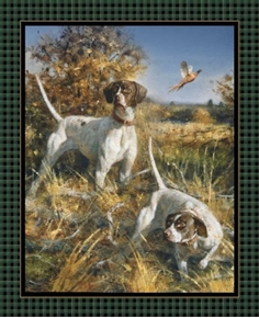 Point North Hunting Dogs Wild Wings Large Cotton Fabric Panel