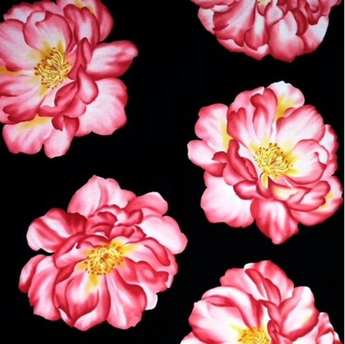 Cotton fabric panel flower fabric huge pink roses flowers on huge pink roses flowers on black 24x44 cotton fabric mightylinksfo