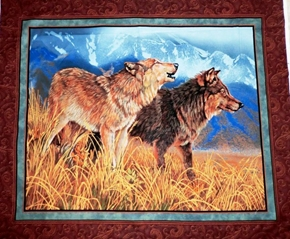 Territorial Trail Wolves In The Wild Large Cotton Fabric Panel