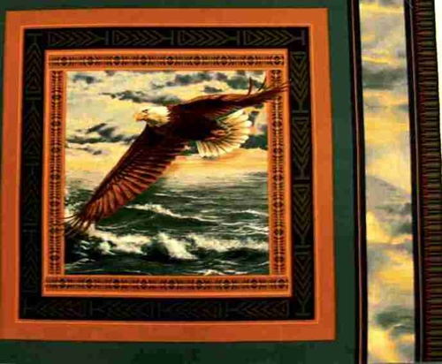 Wings Of Glory Bald Eagle Soaring Over Ocean Fabric Pillow Panel