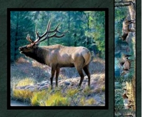 Picture of Mountain Sky Elk Bull Bugling Cotton Fabric Pillow Panel