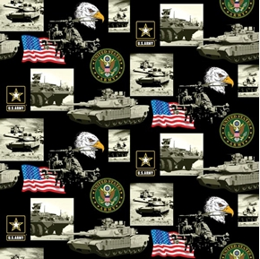 Military Army Scenes and Logos in Squares Cotton Fabric