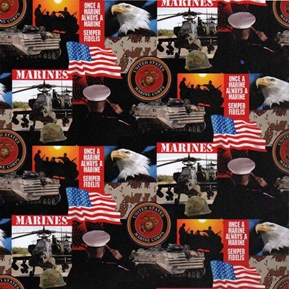 Military Marines Scenes And Logos In Squares Cotton Fabric