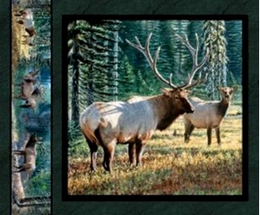 Mountain Sky Elk Couple in the Forest Cotton Fabric Pillow Panel