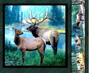 Mountain Sky Elk Couple Near River Cotton Fabric Pillow Panel