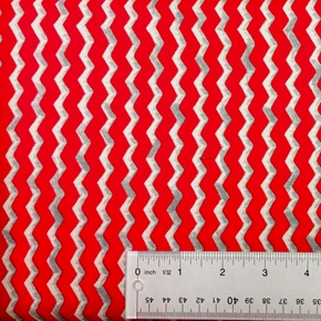 Monster Truck Mania Red And Silver Chevron Cotton Fabric