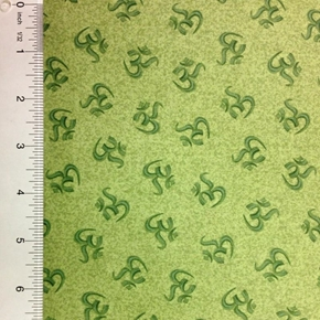 Namaste Symbolic Tonal Om Meditation Green Cotton Fabric
