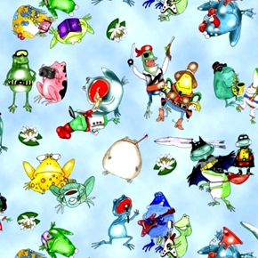 Picture of On a Lark Funny Frogs Acting Like People on Blue Cotton Fabric
