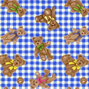 Picture of Boyds Bears Teddy Bears on Blue Plaid Cotton Fabric