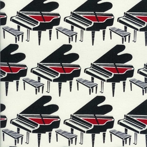 Pianos In Rows Music Piano On Cream Cotton Fabric