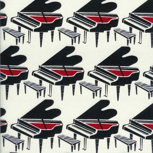 Pianos In Rows Music Piano On Cream Cotton Fabric