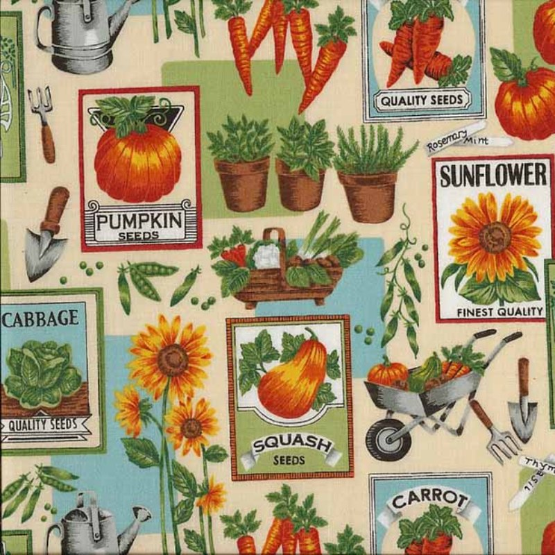 Cotton Fabric Farm Fabric Garden Tools Gardening Rakes
