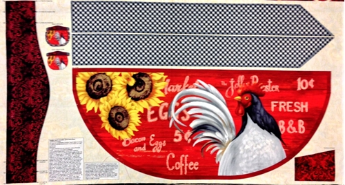 Country Touch Rooster Farm Apron 24X44 Cotton Craft Fabric Panel