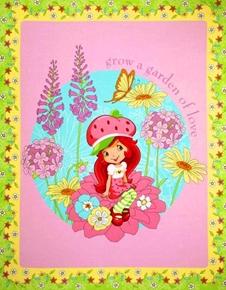 Strawberry Shortcake Grow a Garden Of Love Large Cotton Fabric Panel