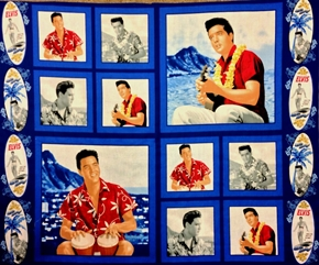 Elvis Presley Blue Hawaii Movie Cotton Fabric Pillow Panel Set