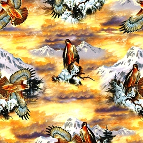 Wildlife 3 Red Tailed Hawks In The Wild Cotton Fabric