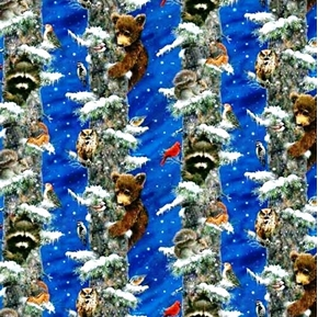 Frosty Friends Raccoon Bears And Birds In Trees Blue Cotton Fabric