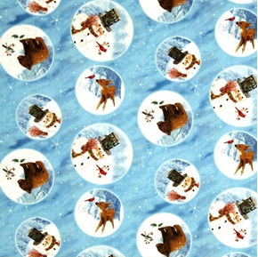 Frosty Friends Snowman Deer And Bear In Circles Blue Cotton Fabric