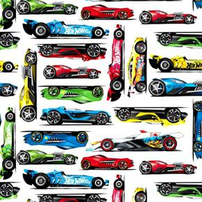 Picture of Hot Wheels Candy Box Toy Race Cars on White Cotton Fabric