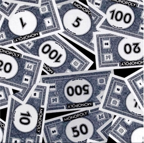 Mr Monopoly Game Money White On Black Cotton Fabric