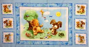 Frosty Friends Baby Bear And Bunny Large Cotton 24X44 Fabric Panel