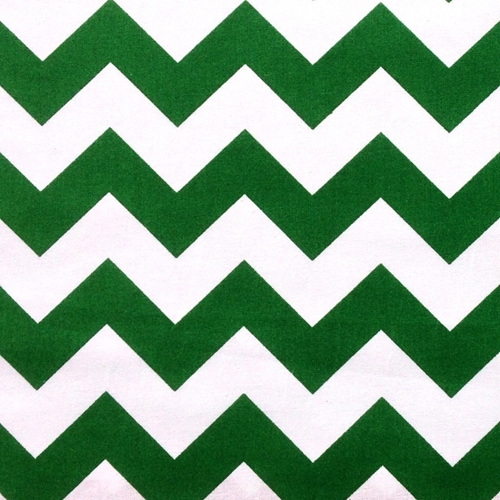 Chevrons Large Three Quarter Inch Kelly Green Chevron Cotton Fabric
