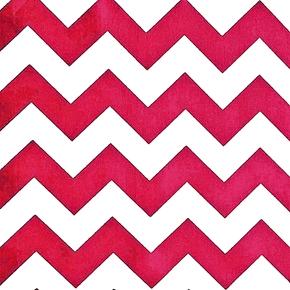 Picture of Chevrons Half Inch Fuchsia Pink Chevron on White Cotton Fabric