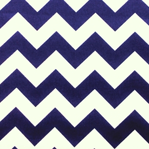 Chevrons Large Three Quarter Inch Navy Blue Chevron Cotton Fabric