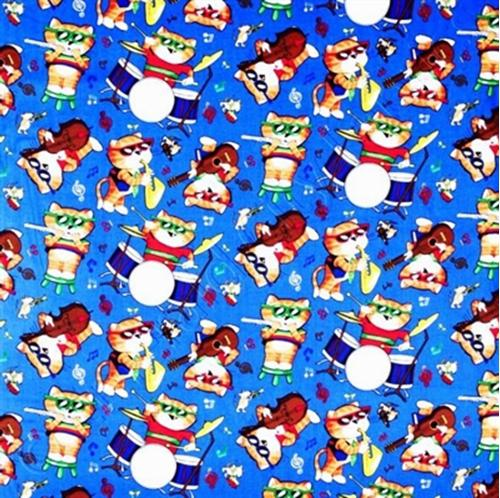 Comical Cats Playing Musical Instruments Cotton Fabric