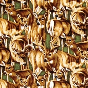 Stoney Brook Packed Deer On Green Cotton Fabric