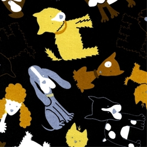 Cute Dogs Tossed On Black Cotton Fabric