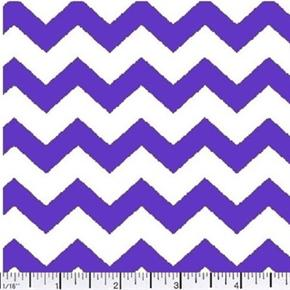 Picture of Chevrons 3/8 Inch Lavender Chevron on White Cotton Fabric