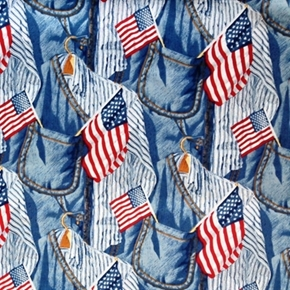 Picture of Old Glory American Icon Flags in Pockets Cotton Fabric