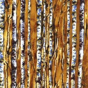 Cabin Tree Trunks In The Forest Cotton Fabric
