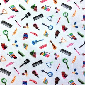 Mini Musical Instruments On White Cotton Fabric
