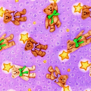 Picture of Boyds Bears and Stars Teddy Bear on Purple Cotton Fabric