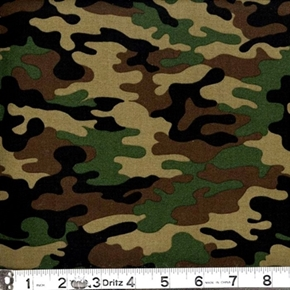 Kickin Camo Army Colored Camouflage Cotton Fabric