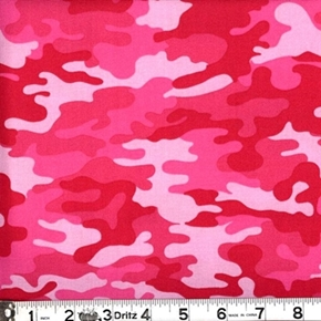 Kickin Camo Camouflage In Pinks Cotton Fabric